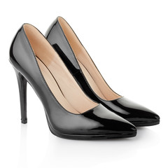 Black elegant shoes for woman on white, clipping path