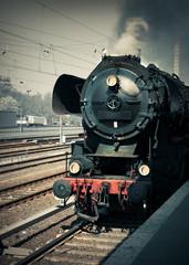 Historical German steam locomotive, toned image