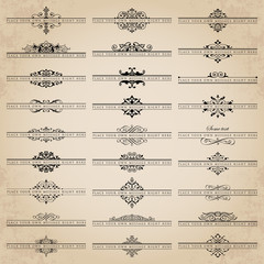Vector set of 27 ornate headpieces