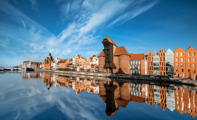 Cityscape of Gdansk, view across the river Wall mural
