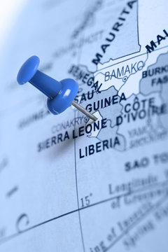 Location Sierra Leone. Blue pin on the map.