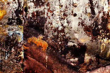 rusty metallic background with old shabby paint