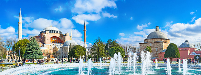 Aluminium Prints Turkey Panorama with the fountain