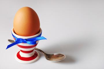 Boiled egg in holder on light background