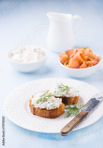 Canapes with soft cheese spread on white plate for Canape spread