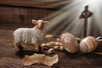 easter concept with lamb and cross symbol