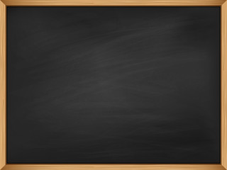 Empty blackboard with wooden frame. Template