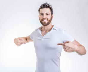 Man on white tshirt on white background