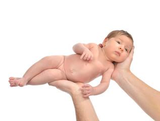 Father hands hold newborn three weeks infant child baby girl kid