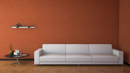 Front view of an interior rendering of a living room with textur