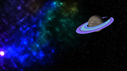 Planet Saturn and air space