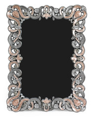 Metal frame with brown enamel, gems and place for a photo