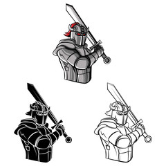 Coloring book Knight warrior cartoon character