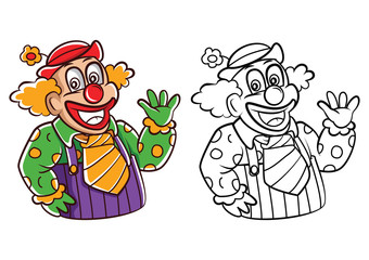 Coloring book Clown cartoon character