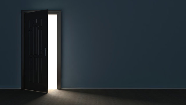 3d render of light in empty room through the opened door