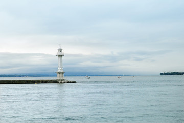 Lighthouse at Leman lake (Lac Leman), Geneva, Switzerland