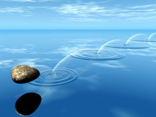 ricochets of a stone on water .