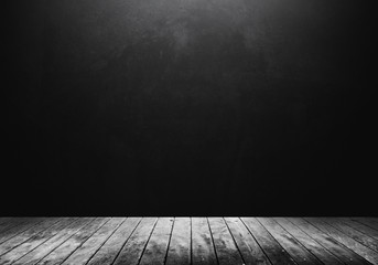 White wooden floor with dark background