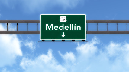 Medellin Colombia Highway Road Sign