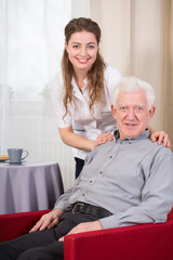 Social care worker and senior