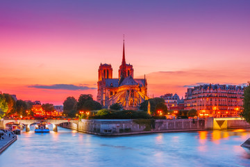 Poster Paris Cathedral of Notre Dame de Paris at sunset, France