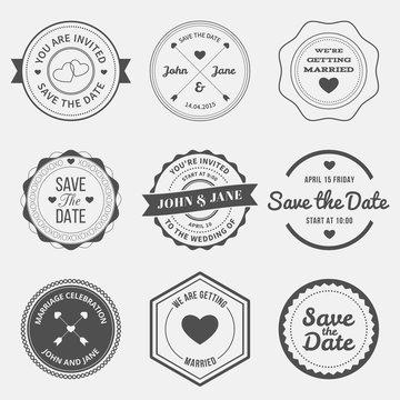 set of retro design elements for wedding invitations. vector illustration