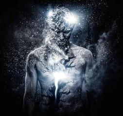 Fototapeta Man with conceptual spiritual body art obraz