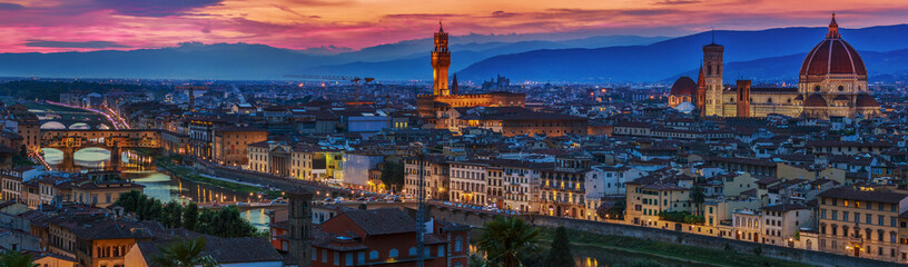 Fototapeten Florenz Florence city panorama at sunset. Panoramic view.
