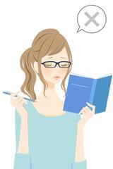 勉強する女性 バツ
