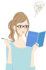 勉強する女性 疑問