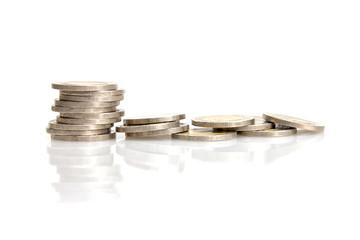 closeup money coins on white background