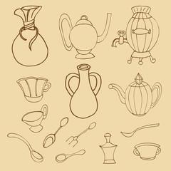 Cooking & Backing flat doodle set icons, Kitchenware stylish des