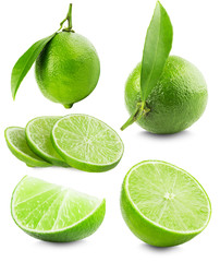 set of limes isolated on the white background