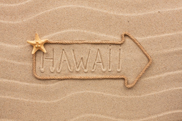 Arrow made of rope and sea shells with the word Hawaii on the sa