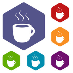 Coffee rhombus icons