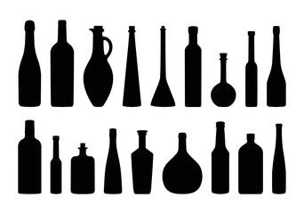 Flaschen Silhouetten Set