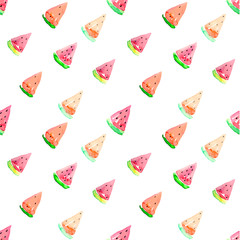 Watercolor seamless watermelon pattern