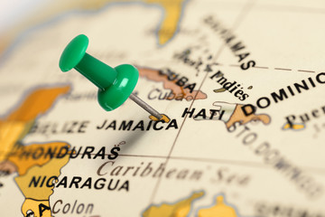 Location Jamaica. Green pin on the map.