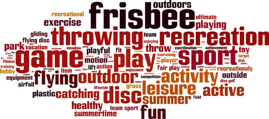 Frisbee word cloud concept. Vector illustration