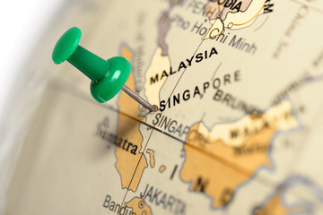 Keuken foto achterwand Singapore Location Singapore. Green pin on the map.