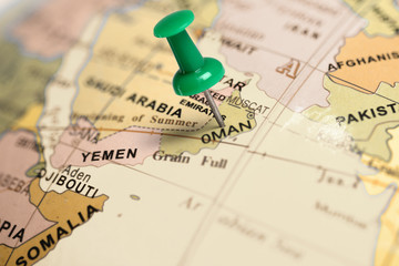 Location Oman. Green pin on the map.