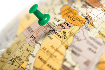 Location Jordan. Green pin on the map.