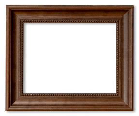 Wood frame for picture on isolated white with space.