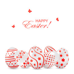 Easter eggs with red decoration