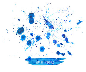 Watercolor Splashes Set isolated on white background.