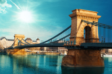 Keuken foto achterwand Boedapest Chain bridge Budapest Hungary