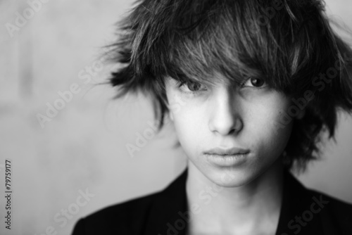 Modele Coiffure Portrait D Enfant 01 Noir Et Blanc Photo Libre De