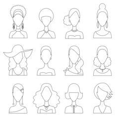 Set of women hair avatar icons in modern line design. Vector illustration of various women character.