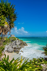 Caribbean view of Tulum Mayan Ruins and beach, perfect Paradise,
