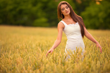 beautiful woman posing in yellow wheat field